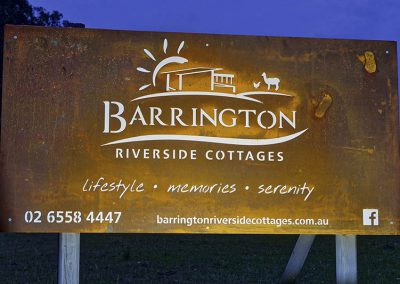 Barrington Riverside Cottages Sign
