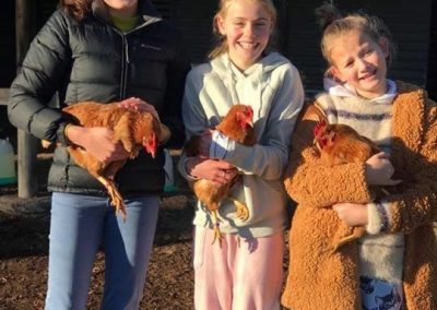 Chickens with girls